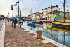 Cesenatico, Emilia Romagna, Italy: the dock with the ancient woo Stock Image