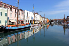 Cesenatico in Italy- fishing harbor designed by Leonardo da Vinci Royalty Free Stock Photography