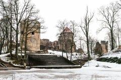 Cesis中世纪城堡在冬天在拉脱维亚 图库摄影