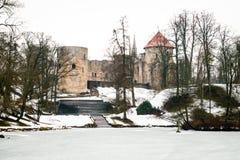 Cesis中世纪城堡在冬天在拉脱维亚 免版税图库摄影