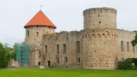Cesis castle, northern latvia, timelapse, zoom in, 4k stock video