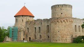 Cesis castle, northern latvia, timelapse, zoom in, 4k stock footage