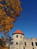 Cesis castle roof in sunny autumn day, Latvia royalty free stock photos