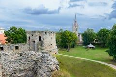 Cesis castle and St. Ioan church. Latvia Stock Photography