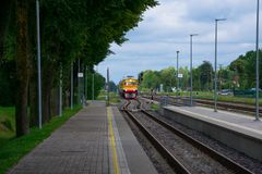 Train arriving at Cesis Railway Station. Cesis, Latvia. August 24, 2017. Train arriving at Cesis Railway Station Royalty Free Stock Photography
