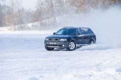 Audi allroad at winter. Travel photo. Cesis, Latvia, Frozzen lake and Audi allroad. Ice and cold, power and speed. Travel photo 2018 royalty free stock photography