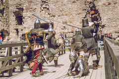 Cesis, Latvia, Medival festival in Livonian Castle. Cesis, Latvia, Medival festival in Livonian Castle, Street view, medival fight, 2015 year. It`s a travel Stock Photos