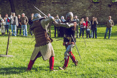 Cesis, Latvia, Medival festival in Livonian Castle. Cesis, Latvia, Medival festival in Livonian Castle, Street view, medival fight, 2015 year. It`s a travel Stock Image