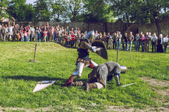 Cesis, Latvia, Medival festival in Livonian Castle. Cesis, Latvia, Medival festival in Livonian Castle, Street view, medival fight, 2015 year. It`s a travel Royalty Free Stock Photo