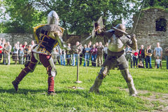 Cesis, Latvia, Medival festival in Livonian Castle. Cesis, Latvia, Medival festival in Livonian Castle, Street view, medival fight, 2015 year. It`s a travel Stock Photography