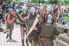 Cesis, Latvia, Medival festival in Livonian Castle. Cesis, Latvia, Medival festival in Livonian Castle, Street view, medival fight, 2015 year. It`s a travel Royalty Free Stock Images