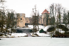 Cesis Medieval Castle in winter in Latvia Royalty Free Stock Photography