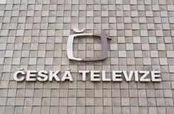 Ceska Televize logo on the wall. CESKA TELEVIZE, KAVCI HORY, PRAGUE, CZECH REPUBLIC / CZECHIA - MAY 14, 2018: Logo of national broadcasting company. Public Royalty Free Stock Image