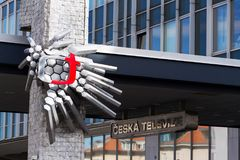 Ceska televize public television broadcaster logo on headquarters building. PRAGUE, CZECH REPUBLIC - MARCH 9 2018: Ceska televize public television broadcaster Royalty Free Stock Images