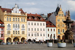 Ceske Budejovice, Czech Rep: Old Town Square Stock Photo