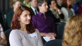 CESKE BUDEJOVICE, CZECH REPUBLIC, OCTOBER 24, 2016: Woman scientist PhD student listening