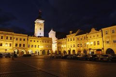 Ceske Budejovice at night, Budweis, Budvar, South Bohemia, Czech Royalty Free Stock Images