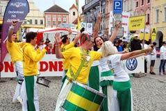 Ceske Budejovice, Tsjechisch Rep: Band in Oude Sq Stad. Royalty-vrije Stock Foto