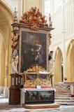 cesky捷克krumlov中世纪老共和国城镇视图 圣母玛丽亚的复活大教堂 2016年6月14日 免版税库存照片