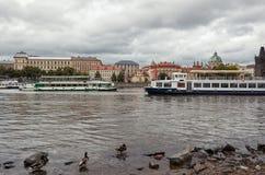 cesky捷克krumlov中世纪老共和国城镇视图 在伏尔塔瓦河河的鸭子在背景查理大桥中 2016年6月17日 库存图片
