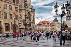 cesky捷克krumlov中世纪老共和国城镇视图 天文学时钟布拉格 Orloj 2016年6月13日 库存图片