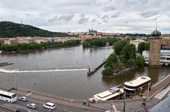 cesky捷克krumlov中世纪老共和国城镇视图 布拉格看法从高度的 2016年6月17日 图库摄影