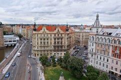 cesky捷克krumlov中世纪老共和国城镇视图 布拉格看法从高度的 2016年6月17日 库存照片
