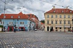 cesky捷克krumlov中世纪老共和国城镇视图 布拉格街道 2016年6月17日 图库摄影
