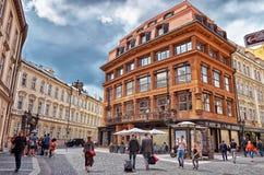 cesky捷克krumlov中世纪老共和国城镇视图 布拉格 黑人玛丹娜的议院 免版税库存图片