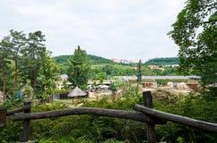 cesky捷克krumlov中世纪老共和国城镇视图 布拉格 布拉格动物园 自然 2016年6月12日 库存图片