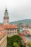 cesky捷克krumlov中世纪老共和国城镇视图 捷克克鲁姆洛夫镇 免版税图库摄影