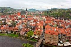 cesky捷克krumlov中世纪老共和国城镇视图 捷克克鲁姆洛夫镇 库存图片