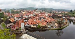 cesky捷克krumlov中世纪老共和国城镇视图 捷克克鲁姆洛夫镇 免版税库存图片