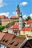cesky捷克krumlov中世纪老共和国城镇视图 捷克krumlov 库存照片