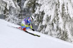 cesky捷克krumlov中世纪老共和国城镇视图 1月, 26日 2013年 在下坡期间的年轻活跃女孩滑雪者 免版税图库摄影