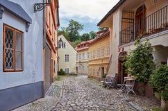 cesky捷克krumlov中世纪老共和国城镇视图 美丽和狭窄的街道在布拉格 2016年6月13日 免版税库存照片