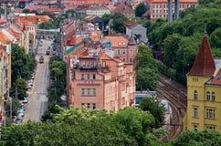 cesky捷克krumlov中世纪老共和国城镇视图 从维谢格拉德的看法布拉格议院的 2016年6月18日 图库摄影