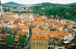 cesky捷克krumlov中世纪老共和国城镇视图 库存照片