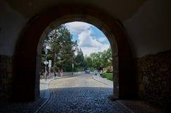 cesky捷克krumlov中世纪老共和国城镇视图 Vysehrad街道在布拉格 2016年6月18日 免版税库存图片
