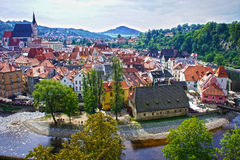 cesky πανόραμα krumlov cesky τσεχική πόλης όψη δημοκρατιών krumlov μεσαιωνική παλαιά Παγκόσμια κληρονομιά της ΟΥΝΕΣΚΟ Στοκ φωτογραφία με δικαίωμα ελεύθερης χρήσης