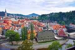 cesky πανόραμα krumlov cesky τσεχική πόλης όψη δημοκρατιών krumlov μεσαιωνική παλαιά Παγκόσμια κληρονομιά της ΟΥΝΕΣΚΟ Στοκ Φωτογραφία