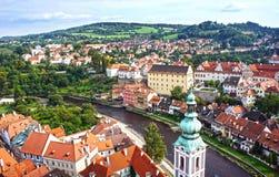 cesky πανόραμα krumlov cesky τσεχική πόλης όψη δημοκρατιών krumlov μεσαιωνική παλαιά Παγκόσμια κληρονομιά της ΟΥΝΕΣΚΟ Στοκ Εικόνες