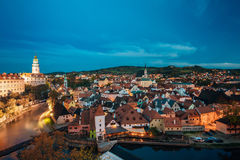 cesky τσεχική δημοκρατία krumlov Διάσημη πόλη και δημοφιλής τουριστικός Στοκ φωτογραφία με δικαίωμα ελεύθερης χρήσης