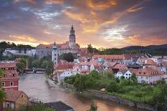 Cesky Kromlov, Tjeckien. arkivbild