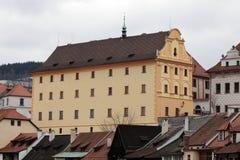 Cesky Kroumlov. Hotel Stockfotos