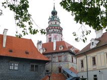 Cesky Krumlov城堡塔 图库摄影