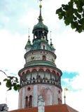Cesky Krumlov城堡塔 免版税库存图片