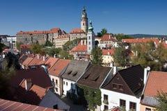 Cesky Krumlov城堡视图  库存照片
