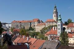 Cesky Krumlov城堡视图  库存图片