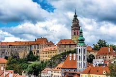 cesky krumlov视图 cesky捷克krumlov中世纪老共和国城镇视图 免版税图库摄影